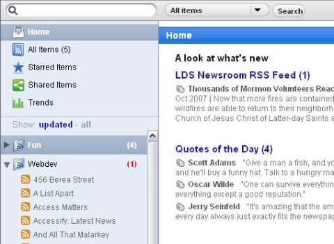 Google Reader with user stylesheet